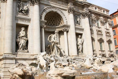 Fontana di Trevi at Piazza di Trevi, Lazio. The Trevi Fountain, finished in 1762, is the largest Baroque fountain in the Italian city of Rome and one of the most Royalty Free Stock Images