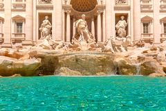 Trevi Fountain or Fontana di Trevi in Rome, Italy. Rome Trevi Fountain or Fontana di Trevi in the morning, Rome, Italy. Trevi is the largest Baroque, most famous Royalty Free Stock Images