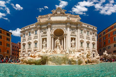 Trevi Fountain or Fontana di Trevi in Rome, Italy. Rome Trevi Fountain or Fontana di Trevi in the sunny summer day, Rome, Italy. Trevi is the largest Baroque Royalty Free Stock Photography