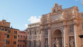 The Trevi Fountain is a fountain in the Trevi district in Rome. Italy stock video footage