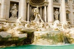 Trevi Fountain, left side view. Beautiful baroque Fontana di Trevi by Nicola Salvi stock photography