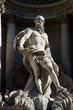 Trevi Fountain main sculpture. Details of one of the major landmarks in Rome, Italy Royalty Free Stock Photo