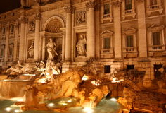 The Trevi fountain at night Stock Photography
