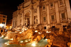 The Trevi fountain at night Stock Photos