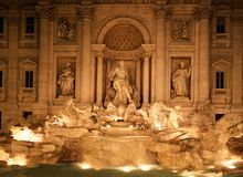 Trevi fountain at night, Rome, Italy. Trevi Fountain lit up at night, Rome, Lazio, Italy, Europe Stock Images