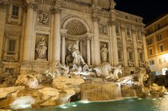 Trevi Fountain by night, Rome, Italy stock images