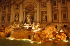Trevi Fountain at Night Stock Photo