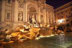 Trevi Fountain Overview Night Rome Italy. Trevi Fountain , Fontana de Trevi, Overview, Night Neptune Statues, Rome Italy Finished by architect Salvi in 1735 who Royalty Free Stock Image