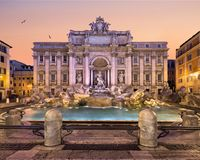 Trevi Fountain and Piazza di Trevi, Rome. Trevi Fountain in Rome. Standing 26.3 metres high and 49.15 metres  wide, it is the largest Baroque fountain in Rome Stock Images