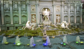Trevi fountain replica. Luxurious interior of Lotte World commercial centre in Seoul, South Korea. Roman Trevi fountain replica royalty free stock photography