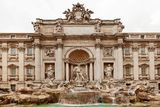 Trevi Fountain Rome. The Trevi Fountain is a fountain in the Trevi district in Rome, Italy. Standing 26.3 metres high and 49.15 metres wide, it is the largest Stock Image