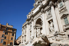 Trevi Fountain, Rome, Italy. Wide-angle view of the Trevi Fountain in Rome Royalty Free Stock Photo