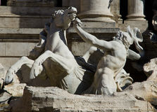Trevi Fountain in Rome, Italy. Details of one of the major landmarks in Rome, Italy Stock Images
