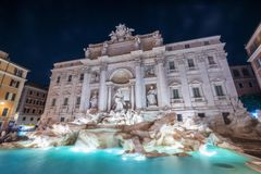 Trevi Fountain in Rome , Italy. The Trevi Fountain is a fountain in the Trevi district in Rome, Italy. It is the largest Baroque fountain in Rome and one of the stock image