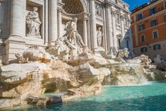 Trevi Fountain in Rome , Italy. The Trevi Fountain is a fountain in the Trevi district in Rome, Italy. It is the largest Baroque fountain in Rome and one of the royalty free stock photos