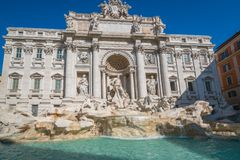 Trevi Fountain in Rome , Italy. The Trevi Fountain is a fountain in the Trevi district in Rome, Italy. It is the largest Baroque fountain in Rome and one of the stock images