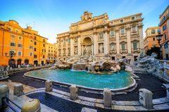 The Trevi Fountain, Rome, Italy. In the morning light Royalty Free Stock Photos