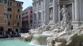 Trevi Fountain in Rome Italy. Rome, Italy - October 2016: Tourists admiring Trevi Fountain stock video