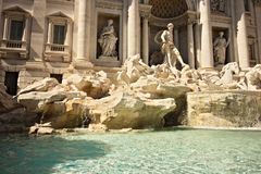 Trevi Fountain in Rome with the sculpture of Neptune stock photos