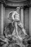 Trevi Fountain. The statue of Ocean, 16.4 feet high carved by Pietro Bracci, in the middle of Trevi Fountain, Rome, Italy Stock Photography