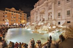 Trevi Fountain, tourist attraction, water, tourism, ancient rome. Trevi Fountain is tourist attraction, ancient rome and water feature. That marvel has water Stock Image