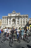 Trevi Fountain Tourists on Cycles Rome Italy Royalty Free Stock Image