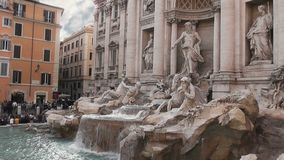 Trevi`s Fountain, Rome, Italy, Real Time, 4k stock footage
