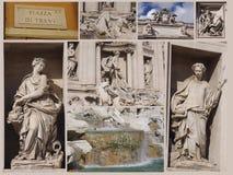 Trevi-springbrunncollage, Rome Arkivfoto