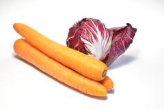 Trevisana e cenouras cicory vermelhos Foto de Stock Royalty Free