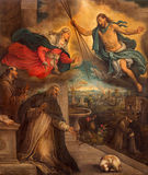 Treviso - Ιησούς με τη λάμψη και τη Mary και τις σκηνές από τη ζωή του ST Francis Asissi και του ST Dominic στην εκκλησία Άγιου Β στοκ εικόνα με δικαίωμα ελεύθερης χρήσης
