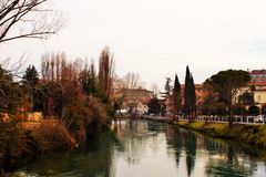 Treviso, μια πόλη με πολλά ρεύματα, τα οποία δίνουν τη φιλοξενία στα πολυάριθμα ζωικά είδη που ζουν στην ηρεμία μεταξύ των ατόμων στοκ φωτογραφίες με δικαίωμα ελεύθερης χρήσης