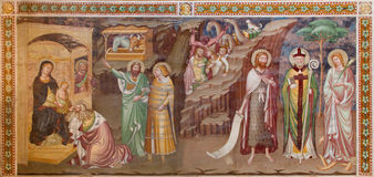 Treviso - Fresco of Adoration of Magi (1370) in saint Nicholas or San Nicolo church. Royalty Free Stock Photo