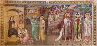 Treviso - fresco de la adoración de unos de los reyes magos (1370) en San Nicolás o la iglesia de San Nicolo Foto de archivo libre de regalías