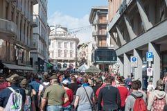 TREVISO, ITALIË - MEI 13: nationale assemblee van de Italiaanse veteranen alpiene troepen Stock Foto