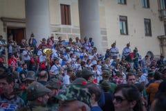 TREVISO ITALIEN - MAJ 13: nationalförsamling av de alpina soldaterna för italienska veteran Royaltyfria Foton