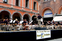 Treviso, Italy: Orchestra Concert in Main Square. The visiting St. Joseph High School orchestra from America performing a concert in front of Palazzo della Stock Photography