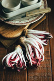 Treviso red radicchio. On wooden table Royalty Free Stock Images