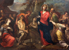 Treviso - The Resurrection of Lazarus by Francesco Pittoni (1710) in saint Nicholas or San Nicolo church. Stock Photo