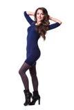 Trevlig älskvärd flicka i klänning royaltyfri foto