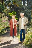 Trevlig angenäm åldrig kvinna som ger hennes hand till maken arkivfoto