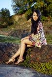 Trevlig asiatisk flicka Fotografering för Bildbyråer
