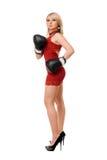 Trevlig blond flicka i boxninghandskar Fotografering för Bildbyråer