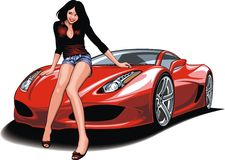 Trevlig flicka och min original- designbil Arkivbild