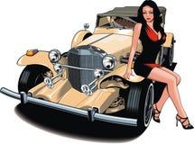 Trevlig flicka och min original- designbil Arkivbilder