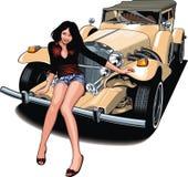 Trevlig flicka och min original- designbil Royaltyfria Foton