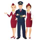 Trevlig flygvärdinna som pekar till sikten från flygplatsfönstret vektor illustrationer
