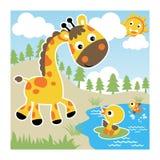 Trevlig giraff med små vänner på sommar vektor illustrationer