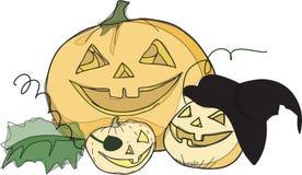 Trevlig halloween pumpa för tre Royaltyfri Fotografi
