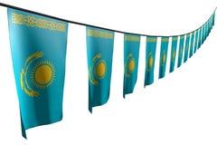 Trevlig illustration för ferieflagga 3d - många Kasakhstan flaggor eller baner hänger diagonalt med perspektivsikt på repet som i vektor illustrationer