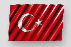 Trevlig illustration för flagga 3d för nationell ferie - glansig flagga av Turkiet med stort ligga för veck som isoleras på grå f stock illustrationer